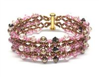 Two Row, Crystal and Pearl Bracelet Jewellery Making Kit with SWAROVSKI® ELEMENTS Pink and bronze